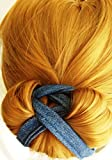Pro Hair Bun Maker ~ Denim Blue. X-Large Former ~ Best for Thick and Long Hair. Fast ~ Fun ~ Easy and Comfortable, Create Sophisticated Elegance Styles. Professional Women, Men and Atheletes UNISEX