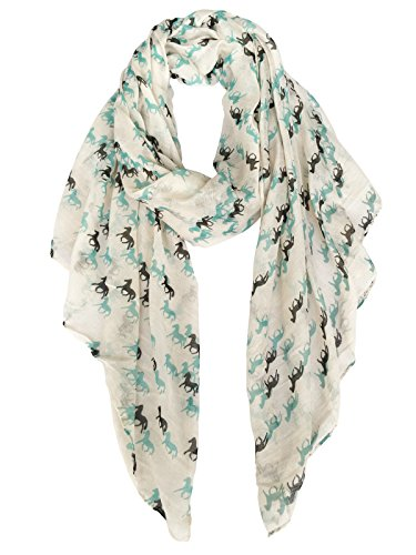 Herebuy Cute Horse Print Scarf Fashionable Women Scarves for Winter -