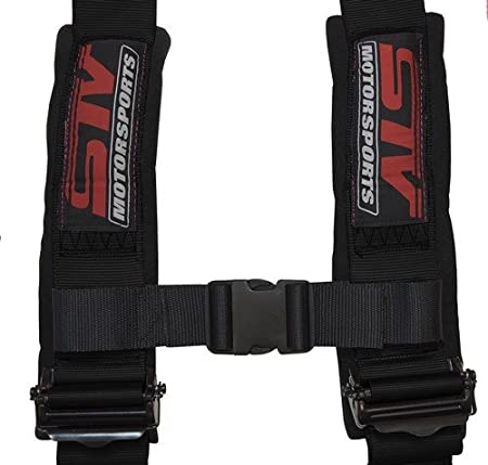 """Latch and Link Quick Release Side by Side PAIR Bolt In Universal H-Type Black UTV STVMotorsports 4 Point Harness Set Trucks 3/"""" Pads for Off-Road"""
