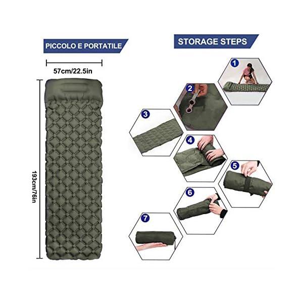 51j7O5yKI1L Karvipark Camping Isomatte, Ultraleichte Luftmatratze mit Kopfkissen, Faltbar Leicht Kleines Packmaß, Wasserdicht…