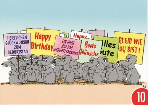 10 Er Packung Postkarte Cartoon Von Modern Times Happy Birthday