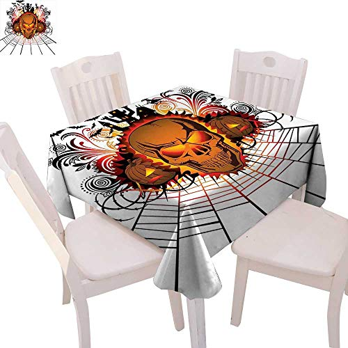 cobeDecor Halloween Washable Tablecloth Angry Skull Face on Bonfire Spirits of Other World Concept Bats Spider Web Design Waterproof Tablecloths 70
