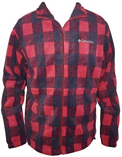 Plaid Zip Jacket - Columbia Men's Steens Mountain Full Zip 2.0 Soft Fleece Jacket (Red/Black Plaid, X-Large)