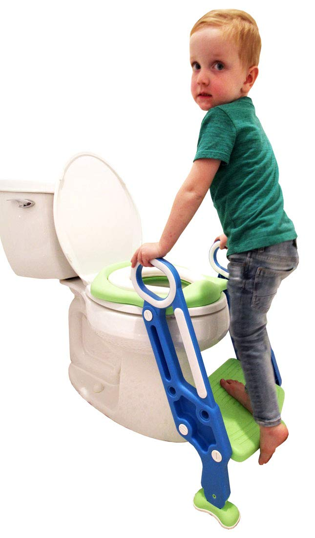 Potty Training Seat for Kids, Children, Toddlers. Potty Seat with Step Ladder. Portable Toilet Training seat with Handles, Cushion seat, Non-Slip Foot Grips, Wide Step. Blue/Green Kids Potty Seat.