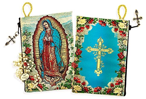 Religious Gifts Lady of Guadalupe Cross on The Back Side Tapestry Rosary Icon Pouch 5 3/8 Inch
