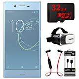 Sony Xperia XZs 64GB 5.2 Dual SIM Smartphone Unlocked-Blue (1307-9724) + 32GB Bundle Includes, 32GB Memory Card, Fusion Bluetooth Headphones, VR Vue II Virtual Reality Viewer & MicroUSB to USB Cable