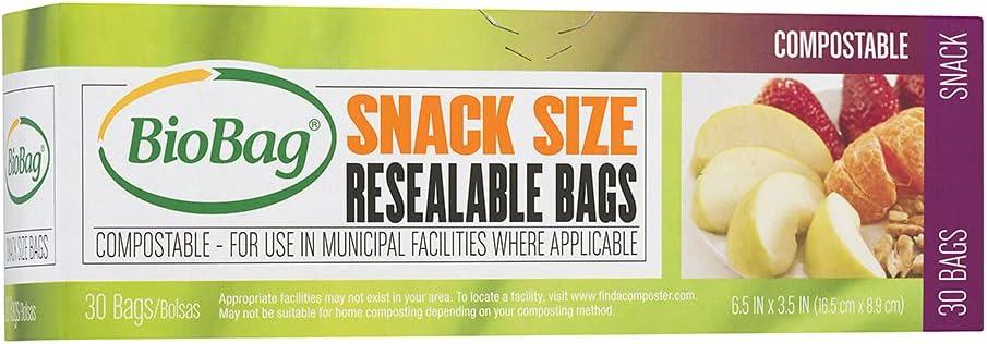 BioBag Resealable SNACK Bags / 6 PACK / 180-ct.