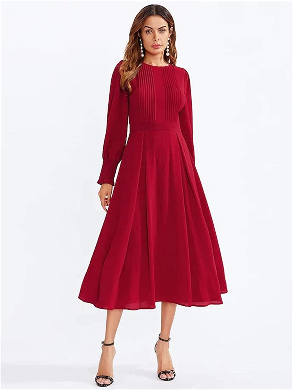 Shanenxn Women Solid Long Sleeve Cowl Neck Maxi Dress Vintage Pocket Dresses Casual