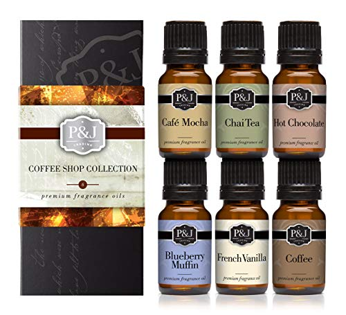 Coffee Shop Set of 6 Fragrance Oils - Premium Grade Scented Oil - 10ml - Coffee, Café Mocha, Chai Tea, Hot Chocolate, Blueberry Muffin, French Vanilla