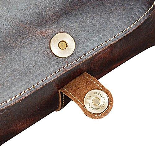 Genda 2Archer Bolso de Hombro del Cilindro del Bolso de la Honda de la Bolsa de Asas del Cuero Genuino de la Vendimia Para los Hombres o las Mujeres (27cm * 13cm * 13cm)