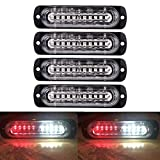 XT AUTO 4.4-inch Ultra Thin Slim Strobe 10 LED Light Head Emergency Hazard Beacon Caution Warning Strobe Lights for Truck Car Vehicle Law Enforcement Snow Plow Red White 4-Pack