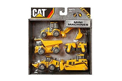 Cat Caterpillar Construction Mini Machine Dump Track Steamroller 5-Pack - Builder Bridge Cat Playset