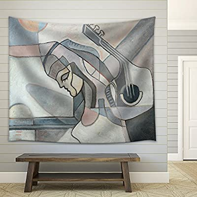 Abstract Painting with Woman and Guitar and Geometrical...Medium