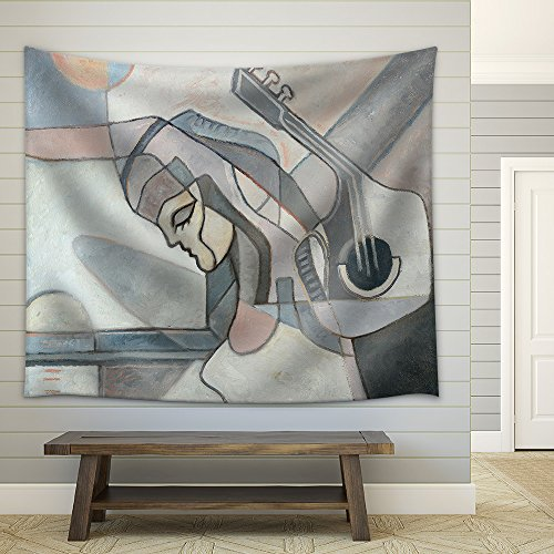Abstract Painting with Woman and Guitar and Geometrical Forms Fabric Wall