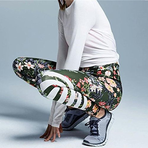 Rayés Pantalons Jupes Verte Gymnastique Pantalon Fitness Imprimées Yoga Femmes nbsp; De Sports Yoga Florales Pour Amlaiworld Armée nO6FSqxF
