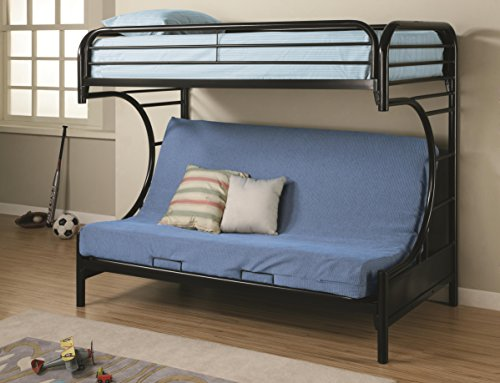 Montgomery Twin over Full Futon Bunk Bed Glossy Black