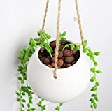 Kingbuy White Ceramic Hanging Planter Container (Small Image)