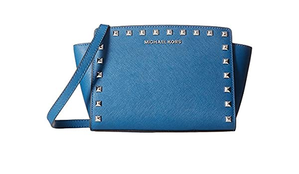a1676751c0cb Amazon.com  MICHAEL KORS Saffiano Leather Medium Stud Selma Messenger Steel  BLUE Silver  Shoes