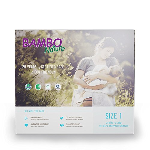 Bambo Nature Eco Friendly Baby Diapers Classic for Sensitive Skin, Size 1, 56 Count (2 Packs of 28)