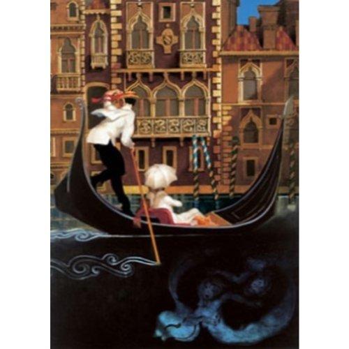Buyartforless Sul Grande Canal Venezia by Juarez Machado 24x32 Art Print Poster Abstract Figurative Painting Venice Italy Canal Paddle Boat White Umbrella