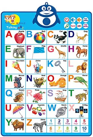 JONZOO Electronic Interactive Alphabet Wall Chart, ABCs/Numbers Talking Poster, Preschool Learning Toy with Music for Boys Girls 2+