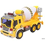 Memtes® Friction Powered Cement Mixer Truck Toy with Lights and Sound for Kids