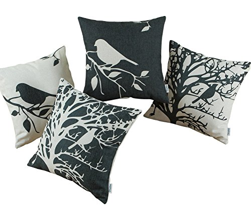 - CaliTime Set of 4 Canvas Throw Pillow Covers Cases for Couch Sofa Home, Vintage Birds Tree Branches Silhouette, 18 X 18 Inches, Black