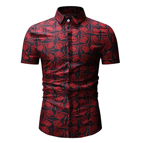 Stoota Spring and Summer Men's Casual Pattern Stand Collar Button Down Long Sleeve Shirt Top Blouse Red from Stoota