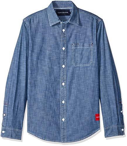 Calvin Klein Men's Long Sleeve Denim Button Down Shirt, Indigo Chambray, -