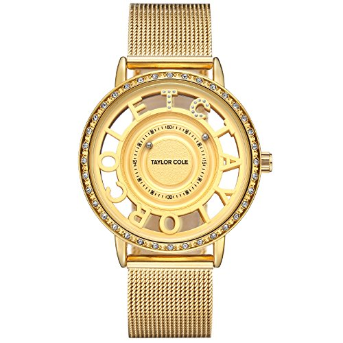 Band Bezel Wrist Watch (Taylor Cole Ladies' Luxury Unique Design Crystal Bezel Quartz Stainless Steel Band Wrist Watch TC130)