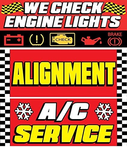 WE Check Engine Lights Alignment AC Service Vinyl Banner Size 30inch X 80inch Pack of 3