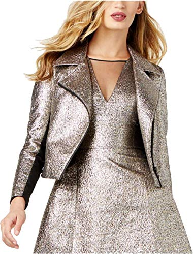 Sachin + Babi Womens Metallic Crop Motorcycle Jacket - Motorcycle Metallic Jacket Leather