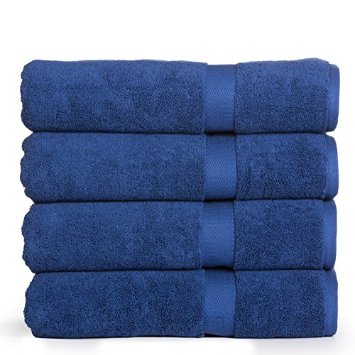 Madhvi Collection 800 GSM Premium Combed Cotton Extra Large 30 x 60 Inch Bath Towels 4 Pack, Oversized and Heavy Bath Towel Set, Hotel and Spa Towels Set With Maximum Softness, High Absorbency (Navy) by Casa Platino