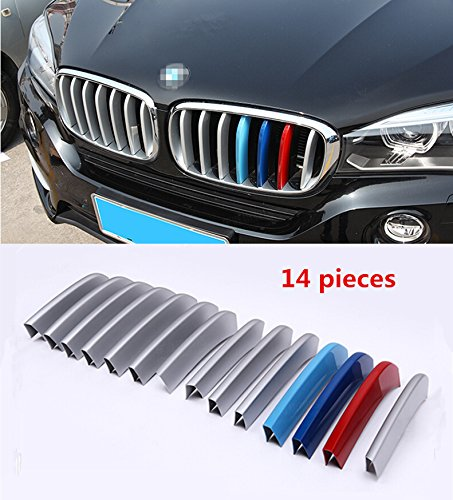 Fangfei 14pcs Chrome Front Center Grill Grid Grille Decorative Cover Trim Strips For BMW X5 F15 2014 2015, X6 F16 2015 Car Styling (/// Sports Strips)