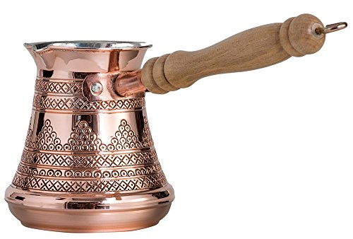 CopperBull Premium Turkish Greek Coffee Espresso Full Set with Copper Pot, Cups, Coffee for 6 (Silver) by CopperBull (Image #4)