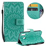 PU Leather Wallet Case for Samsung Galaxy M20,Flip Folio Case for Samsung Galaxy M20,Moiky Pretty Beautiful Green Mandala Sun Flower Embossed Card Slots Shock Absorbing Protective Stand Case