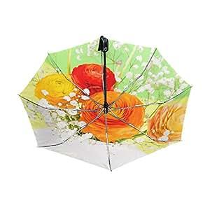 yzgo flores Ranúnculos jarrón exterior negro Anti UV paraguas sombrilla ligero elegante reverso 3plegable gota resistente paraguas Regalos especiales para negocios y personal