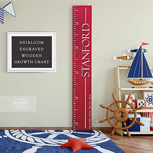 Back40Life | Heirloom Engraved Series - (The Stanford) wooden growth chart height ruler
