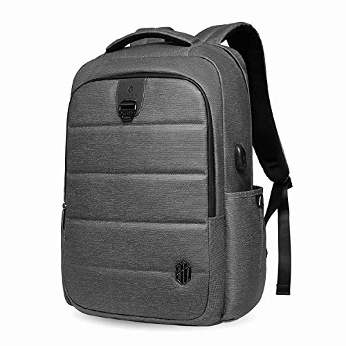 Laptop Backpack 17 Inches Travel Computer Pack Bag with USB Charging Port Waterproof Oxford College School Bookbag Casual Daypack Men& Women Backpacks for Business/Outdoor/Daily, Dark Grey