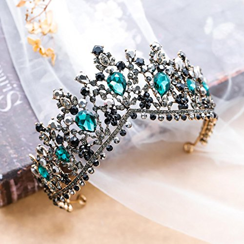 Unicra Baroque Green Crystal Crown Wedding Queen Tiaras and Crowns for Women Decorative Headbands for Prom (Type 4)