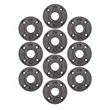 Pipe Decor 1'' Malleable Cast Iron Floor Flange 10 Pack, Industrial Steel Grey Fits Standard One Inch Black Threaded Pipes Nipples and Fittings, Build Vintage DIY Furniture, Ten Plumbing Flanges