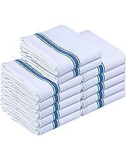 Utopia Towels Kitchen Towels (12 Pack) - Dish Towels, Machine Washable Cotton White Kitchen Dishcloths, Bar Towels & Tea Towels (Blue)