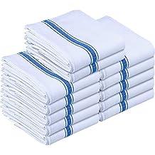 Utopia Towels Kitchen Towels (12 Pack) - Dish Towels, Machine Washable Cotton White Kitchen Dishcloths, Bar Towels & Tea Towels (15 x 25 Inch) (Blue)