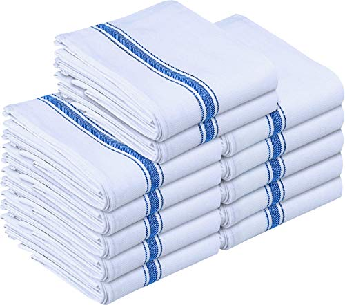 Utopia Towels Kitchen Towels (12 Pack) - Dish Towels, Machine Washable Cotton White Kitchen Dishcloths, Bar Towels & Tea Towels (15 x 25 Inch) (Blue) -