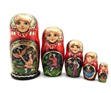 Unique Russian Nesting dolls Fairy Tale ''The Firebird'' Hand Carved Hand Painted 5 piece set