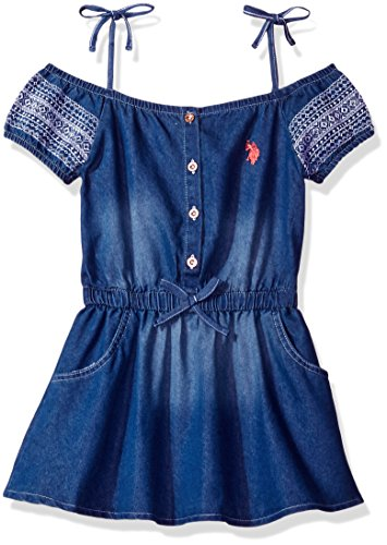 U.S. Polo Assn. Big Girls' Off Shoulder Embroider Puff Sleeve Denim Dress, Medium Wash, 8/10 - Puff Shoulder Dress