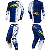 O'Neal Element Shred Blue Adult motocross MX off-road dirt bike Jersey Pants combo riding gear set (Pants W32/Jersey Medium)