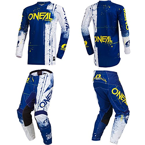 O'Neal Element Shred Blue Adult motocross MX off-road dirt bike Jersey Pants combo riding gear set (Pants W32 / Jersey Medium) (Dirt Bike Jersey And Pants Mens)
