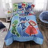 PJ Masks Soft Microfiber Comforter, Sheets and Plush Cuddle Pillow Kids Bedding Set, Full Size 6 Piece Bundle Pack