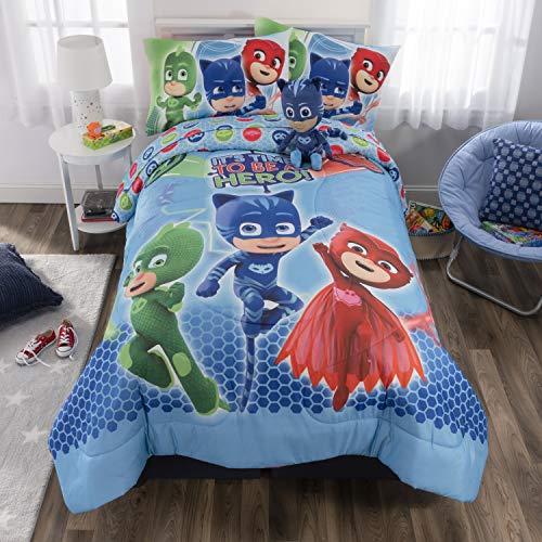 PJ Masks Soft Microfiber Comforter, Sheets and Plush Cuddle Pillow Kids Bedding Set, Full Size 6 Piece Bundle Pack Black Friday & Cyber Monday 2018